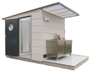 Sanitär-Modul mit WC, Dusche und Geschirrwaschtisch bspw. für kleine Campingplätze