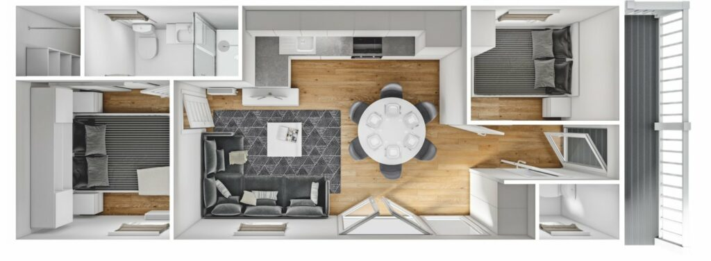 Mobilheim Sheraton mit Terrasse 3D
