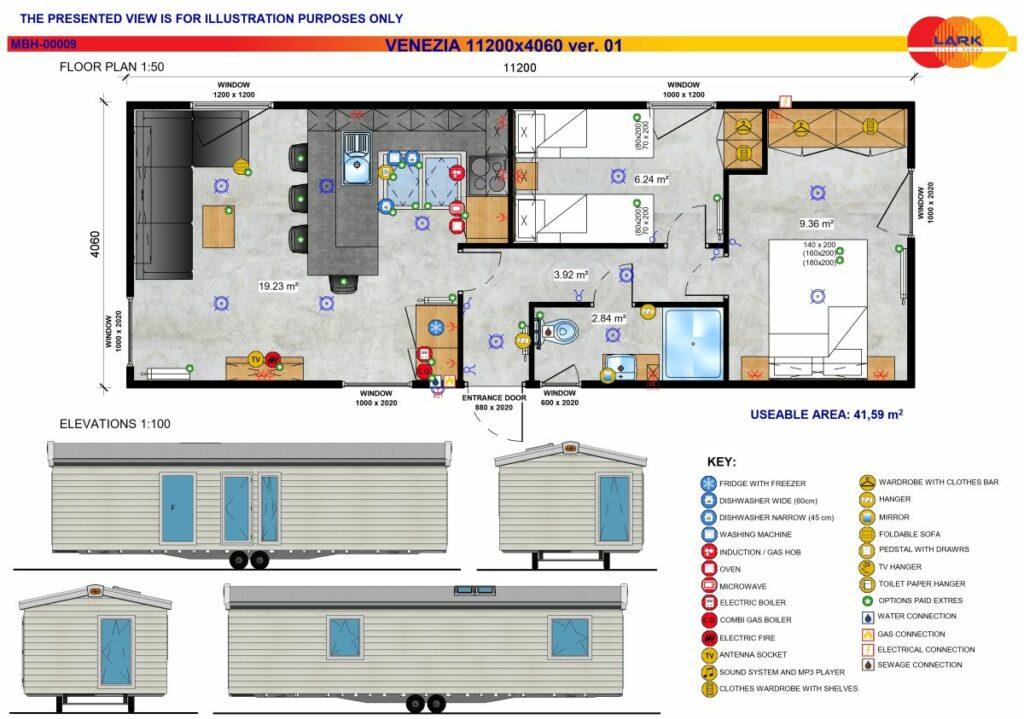 Grundriss Mobilheim Venezia 11200x4060